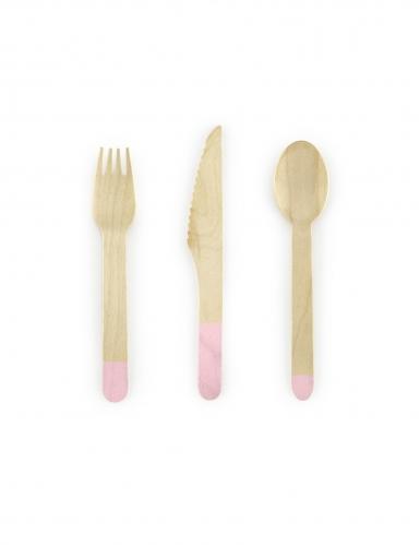 18 posate in legno con punta color rosa