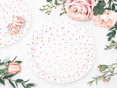 6 piattini in cartone bianchi pois oro rosa 18 cm-1