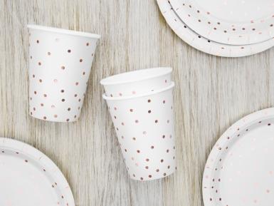 6 bicchieri in cartone bianco con pois oro rosa-1