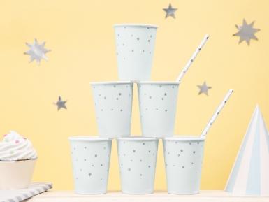 6 bicchieri in cartone celesti stelle argento-1