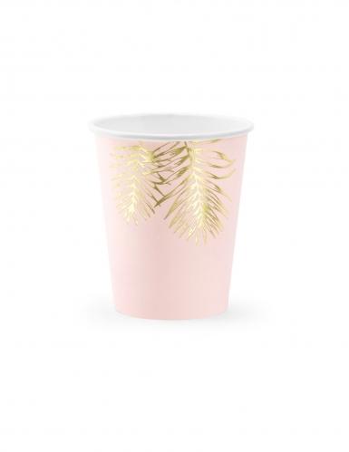 6 bicchieri in cartone tropical rosa e oro