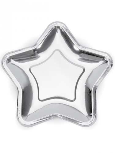 6 piatti in cartone stelle argento 23 cm