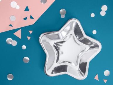 6 piatti in cartone stelle argento 23 cm-1