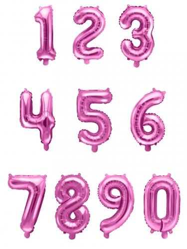 Palloncino alluminio numero color rosa 35 cm-1