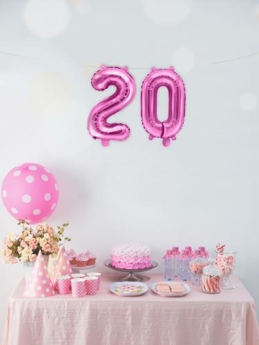 Palloncino alluminio numero color rosa 35 cm-2