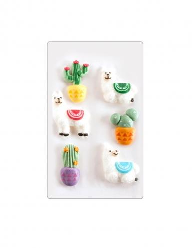 6 mini decorazioni di zucchero cactus e lama