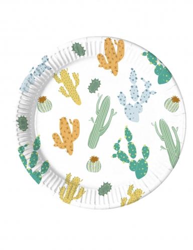8 piatti biodegradabili tema cactus 23 cm