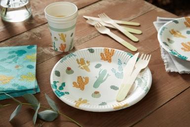 8 piatti biodegradabili tema cactus 23 cm-1
