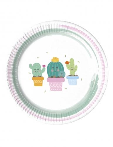 8 piattini in cartone piccoli cactus 20 cm