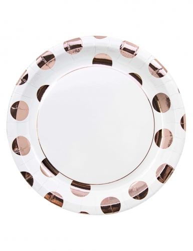 8 piatti in cartone bianchi grandi pois oro rosa 23 cm