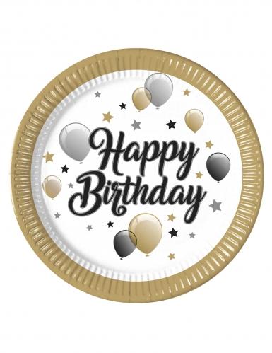 8 piatti in cartone Happy Birthday oro argento e neri 23 cm