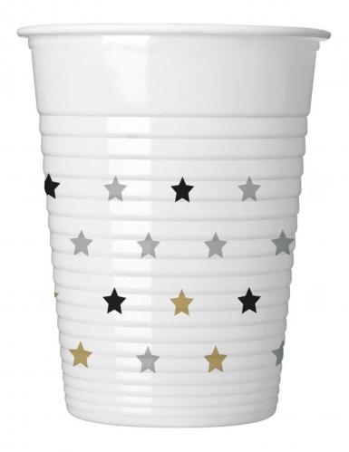 8 bicchieri in plastica stelle oro argento e nere