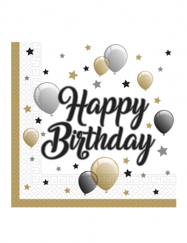 20 tovaglioli di carta Happy Birthday oro argento e nero