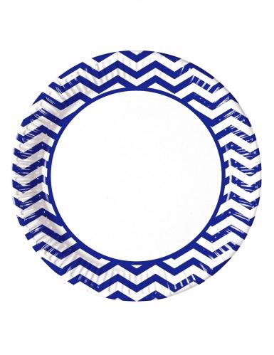 8 piatti in cartone zig zag blu 23 cm