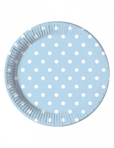 8 piatti in cartone celesti a pois 23 cm