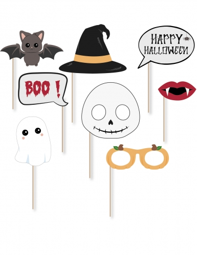 Kit photobooth 8 accessori piccoli mostri Halloween