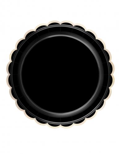 8 piatti in cartone neri bordino oro