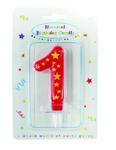 Candelina colorata con stelle numero-1