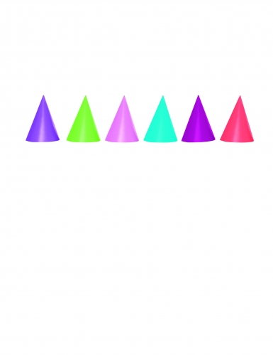 6 cappelli conici in cartone colorati
