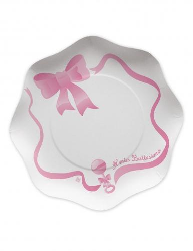 10 piatti in cartone il mio battesimo rosa 23 cm