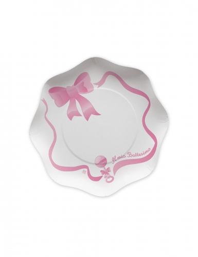 10 piattini in cartone il mio battesimo rosa 18 cm