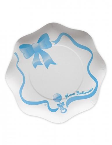 10 piatti in cartone il mio battesimo blu 23 cm