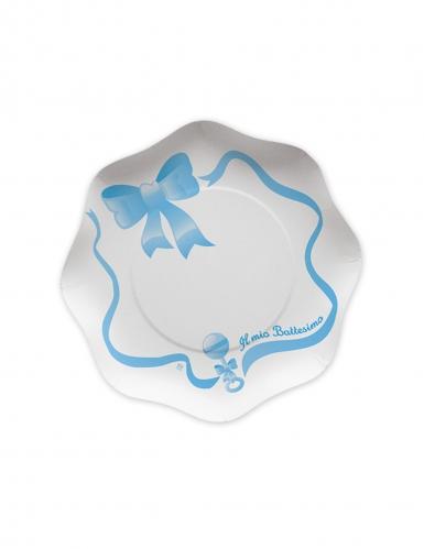 10 piattini in cartone il mio battesimo blu 18 cm