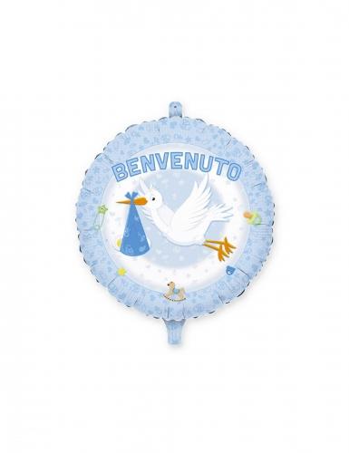 Palloncino in alluminio Benvenuto cicogna blu