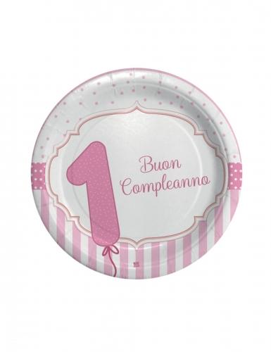8 piatti 1 Buon Compleanno rosa 24 cm