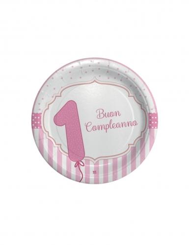 8 piattini 1 Buon Compleanno rosa 18 cm