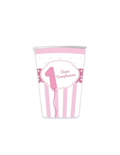 8 bicchieri in cartone 1 Buon Compleanno rosa