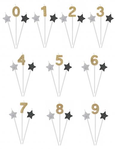 3 candeline numero e stelle oro argento e nere