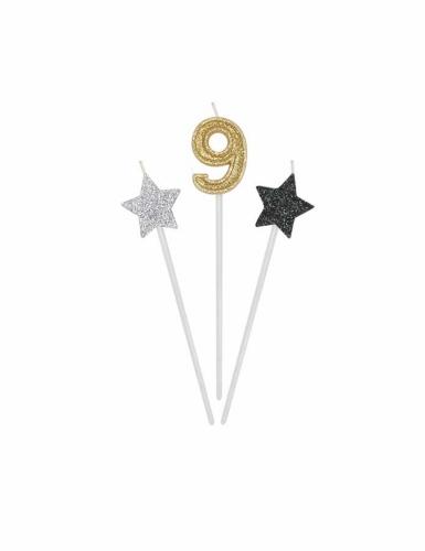 3 candeline numero e stelle oro argento e nere-9