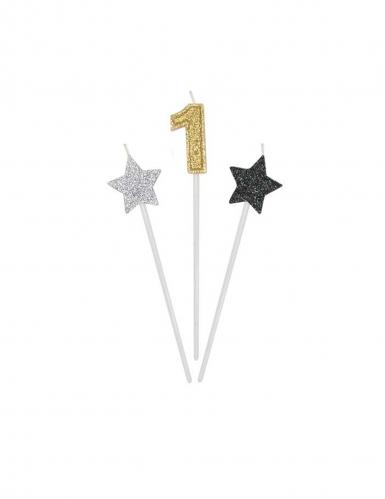 3 candeline numero e stelle oro argento e nere-1