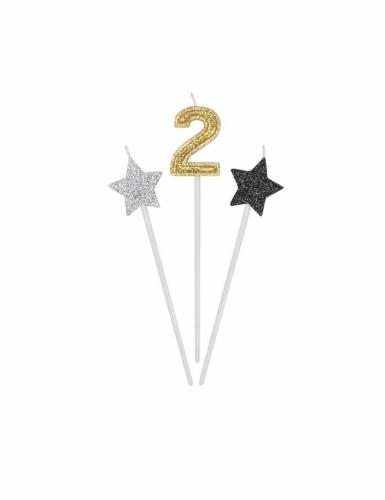 3 candeline numero e stelle oro argento e nere-2