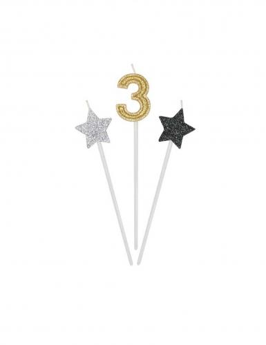 3 candeline numero e stelle oro argento e nere-3