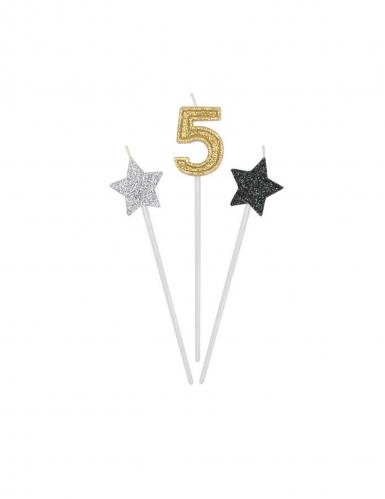 3 candeline numero e stelle oro argento e nere-5