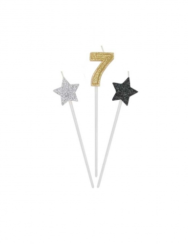 3 candeline numero e stelle oro argento e nere-7