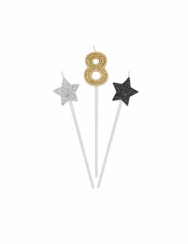 3 candeline numero e stelle oro argento e nere-8
