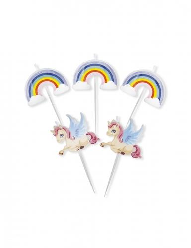 5 candeline di compleanno unicorno e arcobaleno