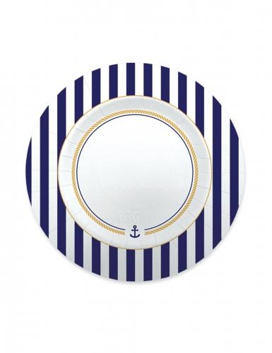 8 piattini in cartone tema marinaro 20 cm