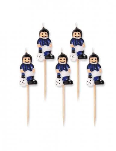 5 candeline calciatori con maglia blu e nera