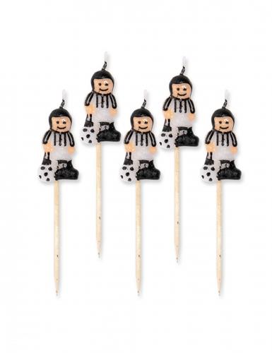 5 candeline calciatori con maglia bianca e nera