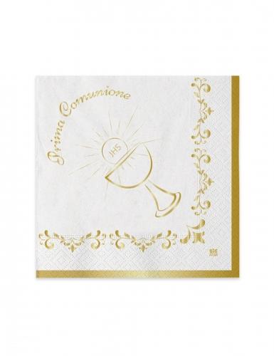 20 mini tovaglioli di carta Comunione oro