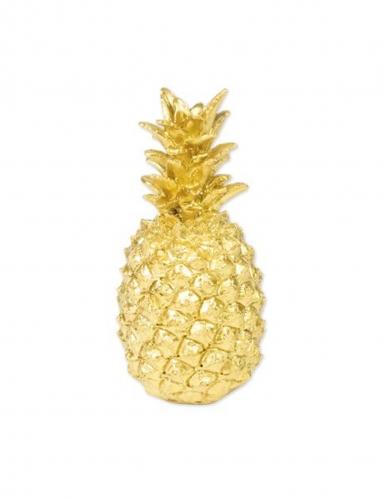 Ananas decorativa in resina dorata