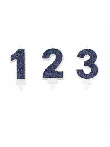 Candelina numero color blu con brillantini