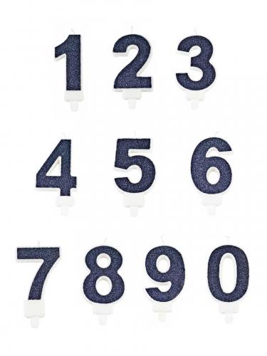 Candelina numero color blu con brillantini-1