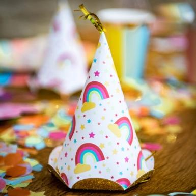 6 cappellini per festa con arcobaleni e brillantini-1