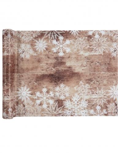 Runner da tavola in tessuto naturale fiocchi di neve