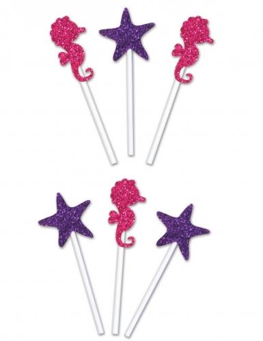 6 decorazioni per torta stelle e cavallucci marini